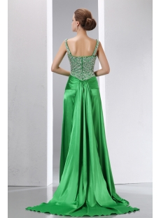 Beaded Green Straps A-line Slit Celebrity Dress with Detachable Train