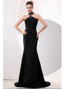 Beaded High-neckline Sexy Slit Black Evening Dress