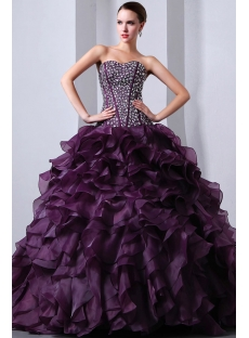 Beaded Pretty Purple Sweetheart Organza Ruffled fiesta de quince años Dress