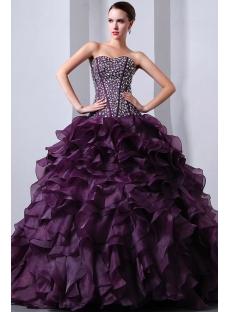 Beaded Pretty Purple Sweetheart Organza Ruffled fiesta de quince años Dress