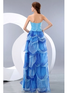 Beaded Sweetheart Petal Multi Colored Evening Dress with Slit