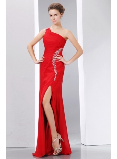 Beading Red One Shoulder Prom Celebrity Dress Little A-line Style with Slit
