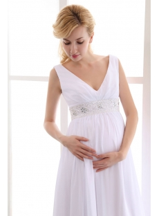 Beautiful Chiffon Long V-neckline Maternity Wedding Gowns