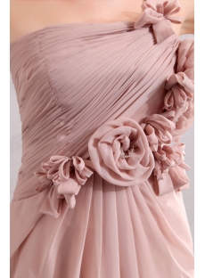 Beautiful Dusty Rose One shoulder Chiffon Evening Dress with Flowers
