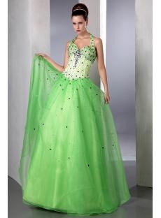Beautiful Green Beaded Halter Organza baile de debutantes Ball Gown