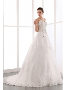Beautiful Spaghetti Straps Beaded Organza Plus Size Bridal Gowns with Train