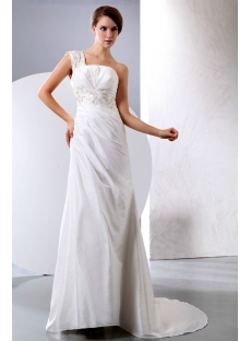 Beautiful Stylish Taffeta A-line One Shoulder Bridal Gowns