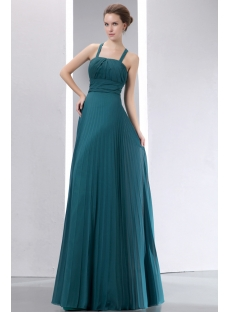 Best Teal Blue Straps Pleat Chiffon Long Prom Dress