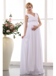 Best White Chiffon V-neckline Long Pregnant Bridal Gowns