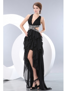 Black Ruffle High-low Cocktail Dress with Criss-cross