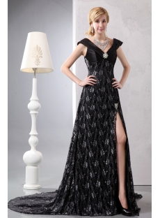 Black V-neckline Lace Slit Plus Size Evening Dress with Train