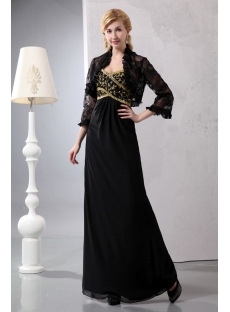 Black and Gold Long Mother of Brides Dress with 3/4 Length Lace Jacket