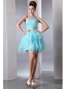 Blue Romantic One Shoulder Short Cocktail Dress