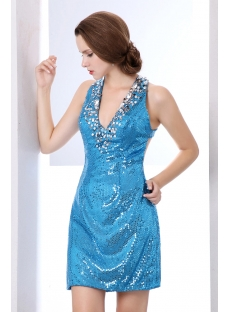 Blue Shine Sequins Criss-cross Short Cocktail Dresses