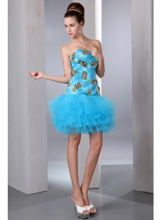 Blue and Gold Drop Waist Mini Sweet 15 Dresses in Mexico