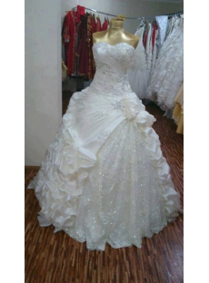 Brilliant Sweetheart Long Pick up Wedding Gown