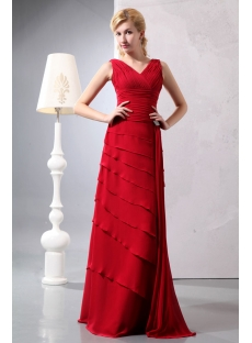 Burgundy V-neckline Prom Dresses for Mother of Groom