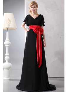 Butterfly Sleeved Black Chiffon Evening Dress with Red Waistband