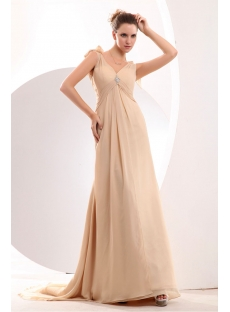 Champagne Chiffon Empire Plus Size Evening Dress with Train