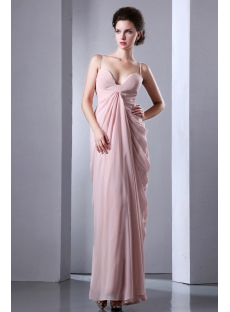 Champagne Spaghetti Straps Side Draped Sexy Maxi Dress