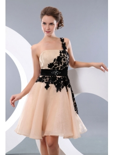 Champagne and Black One Shoulder backless Junior Prom Gowns