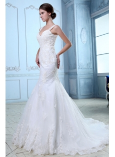 Charming Lace Fishtail Wedding Dress with Straps