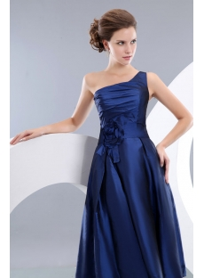 Charming Navy Blue One Shoulder Homecoming Dress with Flower