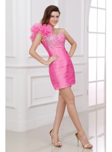Charming Pink One Shoulder Graduation Dresses for High School