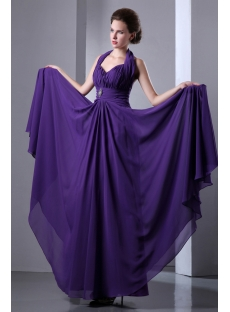 Charming Purple Halter Prom A-line Sleeveless Ruched Zipper Formal Evening Dress