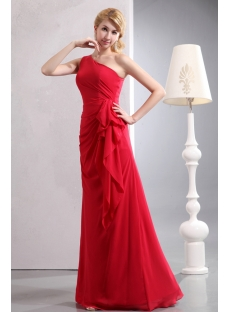 Charming Red One Shoulder Sheath Chiffon Bridesmaid Gowns