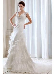 Charming Sleeveless Plunging Lace Sheath 2014 Wedding Dress