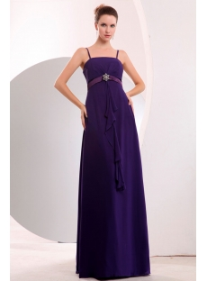 Charming Spaghetti Straps Purple Full Figure Bridesmaid Gowns