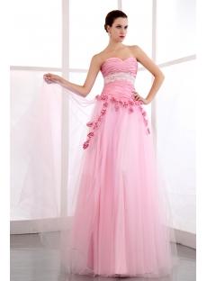 Cheap Pink Long Taffeta festa de debutantes Dress
