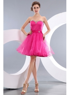 Cheap Popular Fuchsia Short Homecoming Prom Dresses
