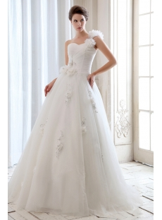 Cheap Romantic Floral One Shoulder Garden Ball Gown Wedding Dress