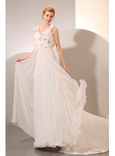 Chiffon Beach Low Back Wedding Dress Spring for Plus Size