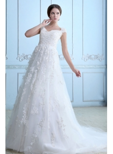 Classic Plus size Lace Wedding Dress with Cap Sleeves