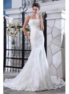 Classical Sheath Lace Celebrity Wedding Dresses