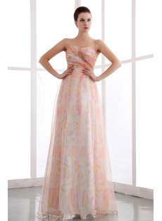 Colorful Printed Organza Long Pretty Prom Dress