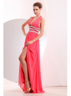 Coral Plunge V-neckline Halter Chiffon Sexy Evening Dress with Slit