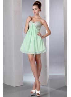 Cute Sequins Sage Mini Chiffon Homecoming Dress