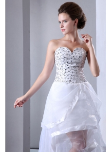 Cute Summer Beaded Sweetheart High low wedding Gown