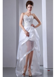 Cute Summer Beaded Sweetheart High low wedding Gown:1st-dress.com
