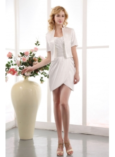 Cute White Mini Bridal Dress with Short Jacket