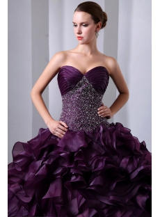 Dark Grape Beaded Sweetheart Pretty Organza festa de quinze anos Dresses