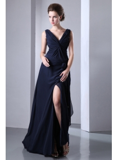 Dark Navy Slit Chiffon Long Evening Dress 2013 with V-neckline
