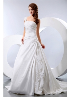 Discount Elegant One Shoulder Taffeta Wedding Dress for Old Women