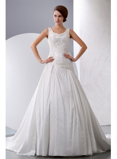 Discount Elegant Taffeta A-line Scoop Wedding Dress