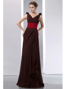 Elegant Chocolate V-neckline Chiffon Bridesmaid Dresses with Burgundy Waistband