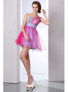 Elegant Colorful One Shoulder Short Cocktail Party Dresses